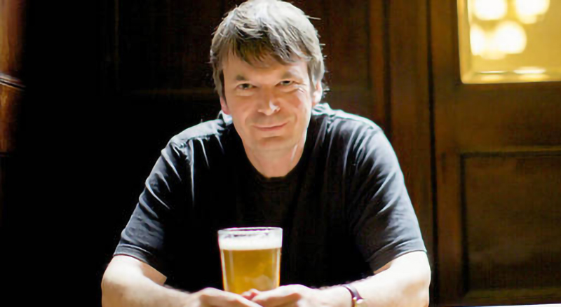 Ian Rankin with a beer